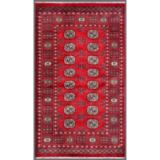 Pakistani Hand-knotted Bokhara Red/ Ivory Wool Rug (3'2 x 5'4)