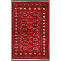 "Traditional Pakistani Hand-Knotted Bokhara Red/Ivory Wool Rug (3'2"" x 5')"
