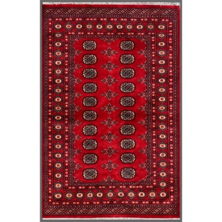 Pakistani Hand-knotted Bokhara Red/ Ivory Wool Rug (4' x 6')
