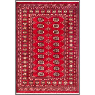 Herat Oriental Pakistani Hand-knotted Bokhara Red/ Ivory Wool Rug (4'2 x 5'10)