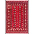 Traditional Pakistani Hand-Knotted Bokhara Red/Ivory Wool Rug (4'2 x 5'10)