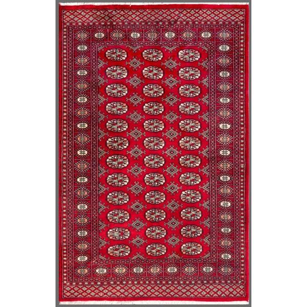 Pakistani Hand-knotted Bokhara Red/ Ivory Wool Rug (4'1 x 6'1)