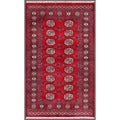 Pakistani Hand-Knotted Bokhara Traditional Red/Ivory Wool Area Rug (3' x 5')