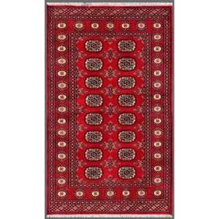 Pakistani Hand-Knotted Bokhara Red/Ivory Wool Area Rug (3' x 5')