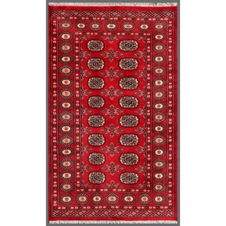 Traditional Pakistani Hand-Knotted Bokhara Red/Ivory Wool Rug (3'1 x 5')