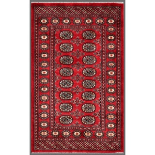 Pakistani Hand-knotted Bokhara Red/ Ivory Wool Rug (3'1 x 5'1)