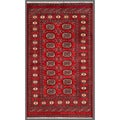 "Pakistani Hand-Knotted Bokhara Red/Ivory Wool Area Rug (3' x 5'3"")"