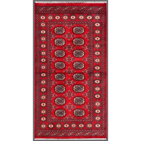 Herat Oriental Pakistani Hand-knotted Bokhara Red/ Ivory Wool Rug (3' x 5'6)
