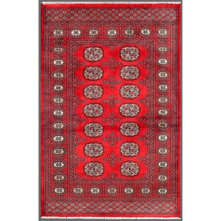 Pakistani Hand-knotted Bokhara Red/ Ivory Wool Rug (3'1 x 4'8)