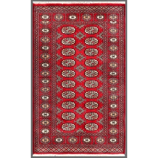 Pakistani Hand-knotted Bokhara Red/ Ivory Wool Rug (3'2 x 5')