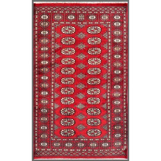 "Pakistani Hand-Knotted Bokhara Red/Ivory Traditional Wool Rug (3'1"" x 4'11"")"