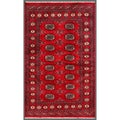Pakistani Hand-Knotted Bokhara Red/Ivory Traditional Wool Rug (3' x 4'11)