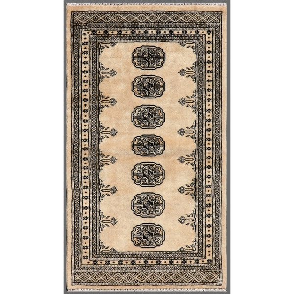 Pakistani Hand-knotted Bokhara Beige/ Black Wool Rug (2'6 x 4'1)
