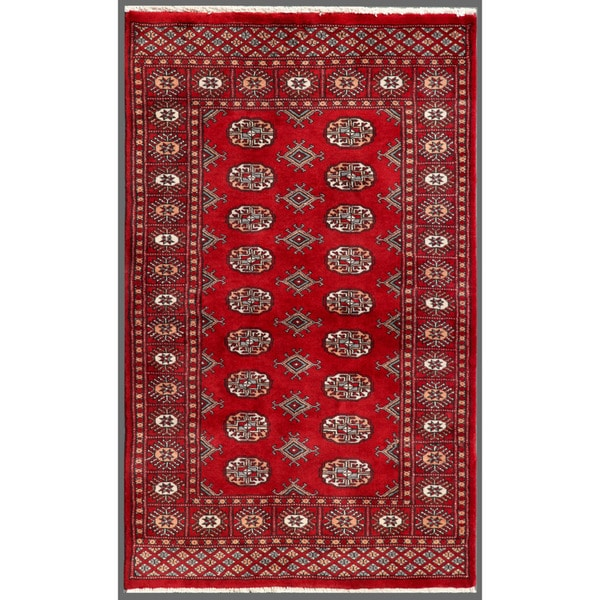 Pakistani Hand-Knotted Bokhara Red/Ivory Fringed Wool Rug (3' x 4'11)