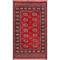 Pakistani Hand-knotted Bokhara Red/ Ivory Wool Rug (3' x 5'3)