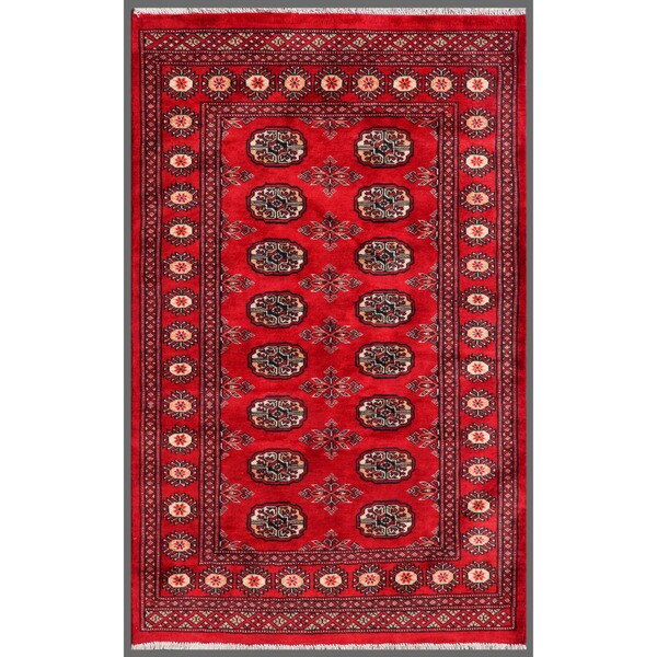 Pakistani Hand-knotted Bokhara Red/ Ivory Wool Rug (3'1 x 4'10)