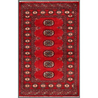 Pakistani Hand-Knotted Bokhara Red/Ivory Wool Rug Model H8114 (2'6 x 3'11)