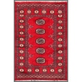 "Pakistani Hand-Knotted Bokhara Traditional Red/Ivory Wool Rug (2'6"" x 3'8"")"
