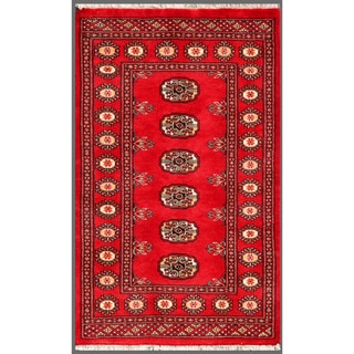 "Pakistani Hand-Knotted Traditional Bokhara Red/Ivory Wool Rug (2'6"" x 4'1"")"