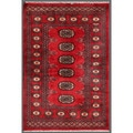 Pakistani Hand-knotted Bokhara Red/ Ivory Wool Rug (2'6 x 3'9)