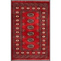"Pakistani Hand-Knotted Bokhara Red/Ivory Traditional Wool Rug (2'7"" x 4'1)"