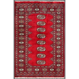 Pakistani Hand-knotted Bokhara Red/ Ivory Wool Rug (2'6 x 3'10)