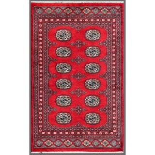 Pakistani Hand-knotted Bokhara Red/ Ivory Wool Rug (2'6 x 3'11)