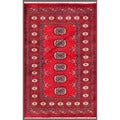 Pakistani Hand-knotted Bokhara Red/ Ivory Wool Rug (2'7 x 4'1)