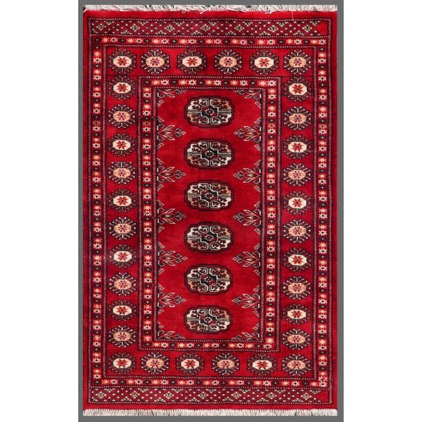 Pakistani Hand-knotted Bokhara Red/ Ivory Wool Rug (2'6 x 3'10)