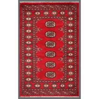 Pakistani Hand-Knotted Bokhara Red/Ivory Wool Rug Model H8135 (2'6 x 3'11)