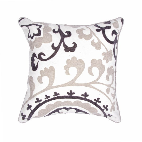 Ivory/ Grey Cotton Square Pillows (Set of 2 )
