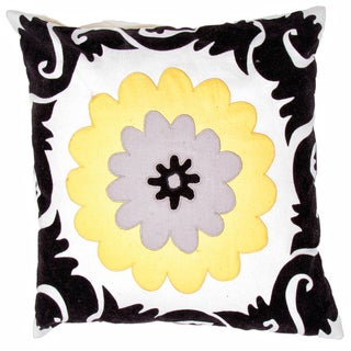Grey / Yellow Flower Design Square Pillows (Set of 2)