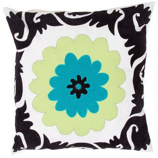 Grey/ Blue Flower Design Square Pillows (Set of 2)