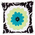 Grey/ Blue Flower Design Square Pillows (Set of 2)