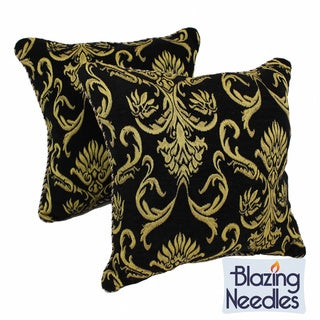 Blazing Needles Chenille Corded Elegant Scroll Throw Pillows (Set of 2)