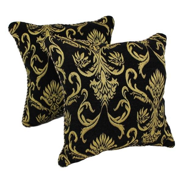 Blazing Needles Chenille Corded Elegant Scroll Throw Pillows (Set of 2)