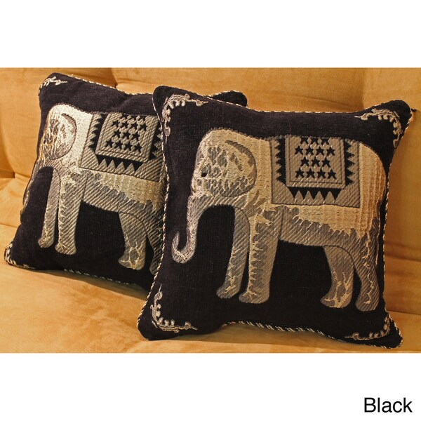 Blazing Needles Chenille Corded Elephants Throw Pillows (Set of 2)