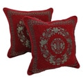 Blazing Needles Chenille Corded Oriental Art Throw Pillows (Set of 2)