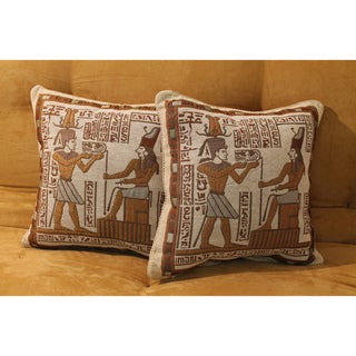 Blazing Needles Tapestry Corded Hieroglyph Throw Pillows (Set of 2)