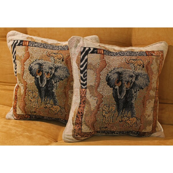 Blazing Needles Tapestry Corded Animal Print Elephant Throw Pillows (Set of 2)