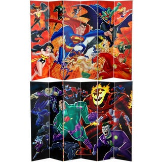 6-Foot Double Sided Justice League Heroes and Villains Canvas Room Divider