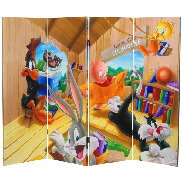 4-Foot Tall Double Sided Bugs Bunny and Friends Canvas Room Divider