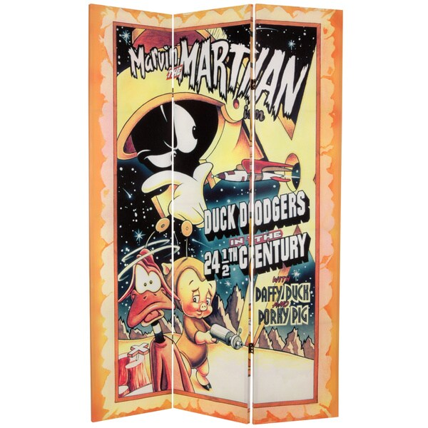 6-Foot Tall Double Sided Tweety and Marvin the Martian Canvas Room Divider