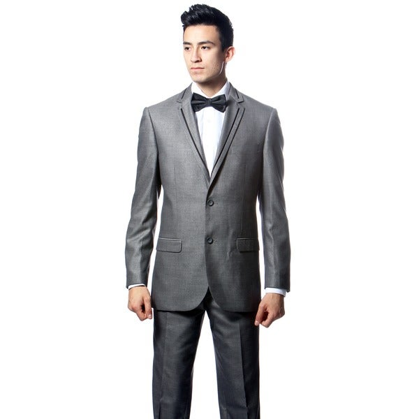 Ferrecci's Grey 2 Piece 2 Button Slim Suit with Black Edging