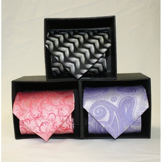 Ferrecci Microfiber Neckties with Matching Hankerchieves (Pack of 3)