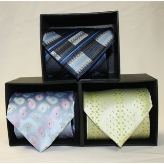 Ferrecci Microfiber Neckties with Matching Pocket Squares (Pack of 3)