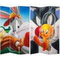 6-Foot Tall Double Sided Bugs and Tweety Canvas Room Divider