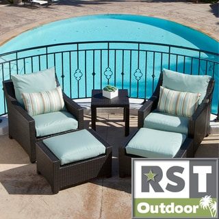Rst Brands Bliss 5 Piece Club Chairs And Ottomans Patio Set Overstock Shopping Big