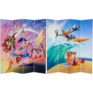 6-Foot Tall Double Sided Roadrunner and Daffy Duck Canvas Room Divider