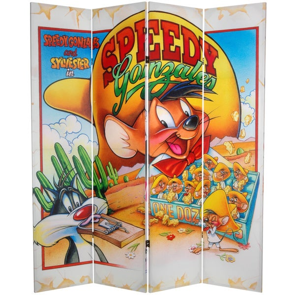 6-Foot Tall Double Sided Speedy and Pepe Le Pew Canvas Room Divider